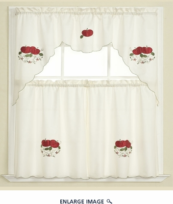 3Pcs Apple Kitchen Embroidery Curtain Set