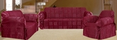 3Pcs Burgundy Patchwork Jacquard Sofa / Loveseat / Chair Slipcover