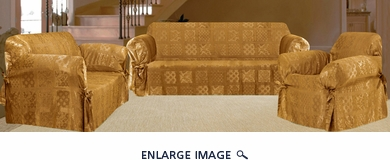 3Pcs Gold Patchwork Jacquard Sofa / Loveseat / Chair Slipcover