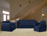 3Pcs Navy Micro Suede Sofa / Loveseat / Chair Slipcover