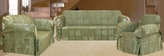 3Pcs Sage Patchwork Jacquard Sofa / Loveseat / Chair Slipcover