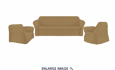 3Pcs Stretch Diamond Sofa / Loveseat / Chair Slipcover Gold