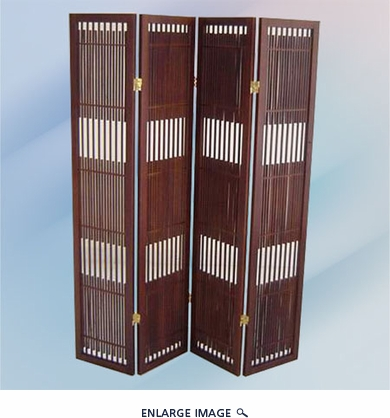 4 Panel Wooden Screen Brown