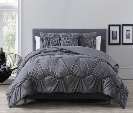 4 Piece Leah Gray Comforter Set