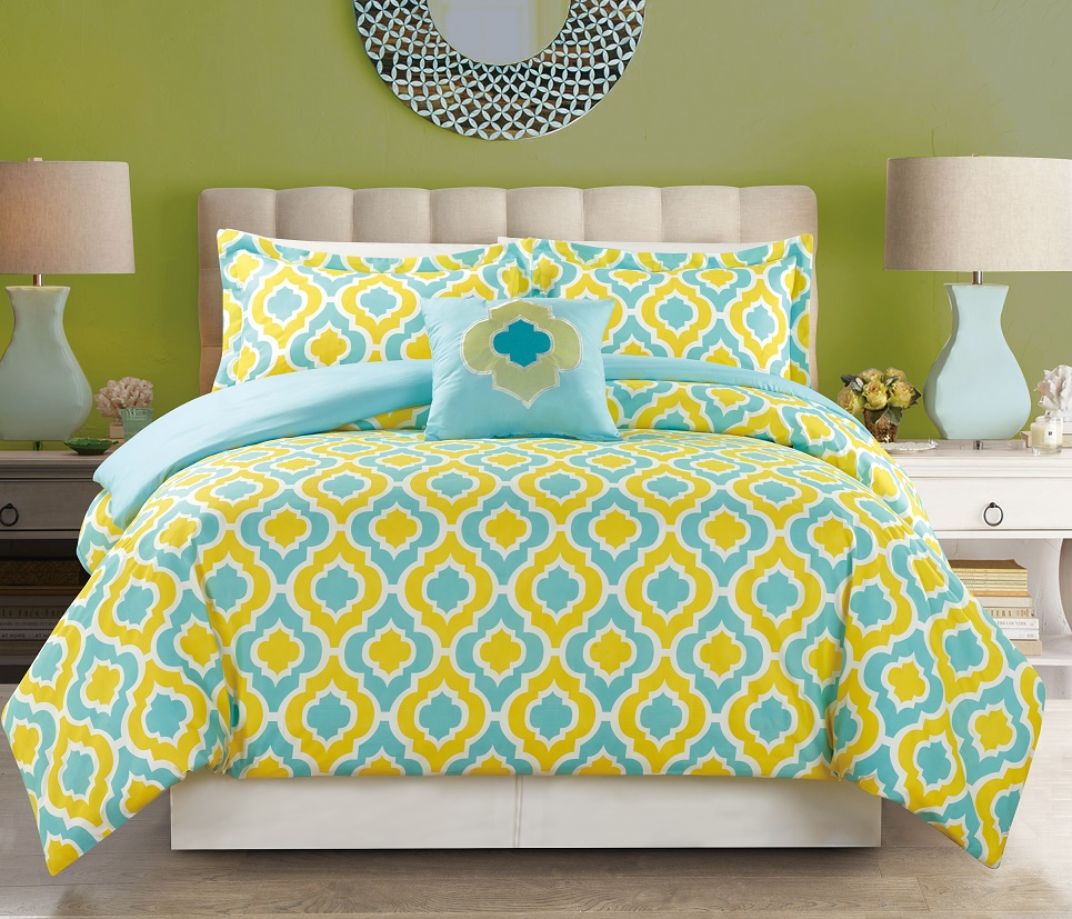 4 piece yellow blue print comforter set - Yellow and blue bedding queen ...