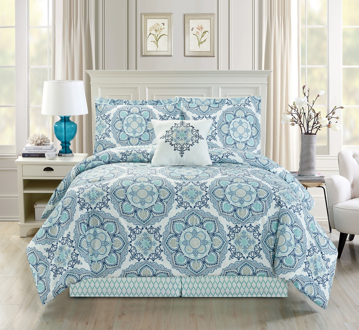 5 Piece Medallion Floral Blue Teal White Comforter Set