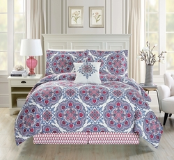 5 Piece Medallion Floral Red/Blue/White Comforter Set