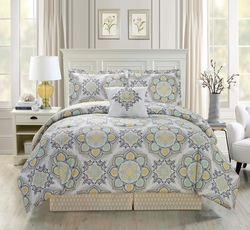 5 Piece Medallion Floral Yellow/Green/Gray Comforter Set