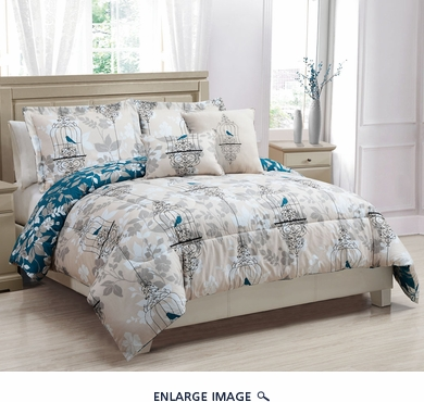 5 Piece Queen Serenade Reversible Comforter Set