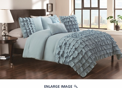 5 Piece Queen Taylor Cottage Blue Comforter Set