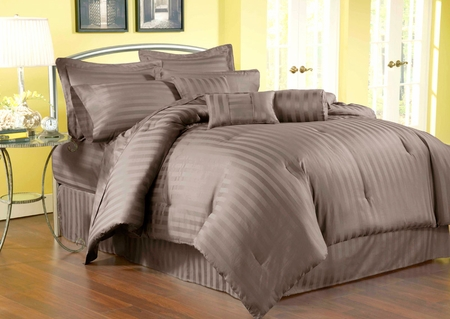 5 Piece Twin Damask Stripe 500 Thread Count Cotton Comforter Set Chocolate
