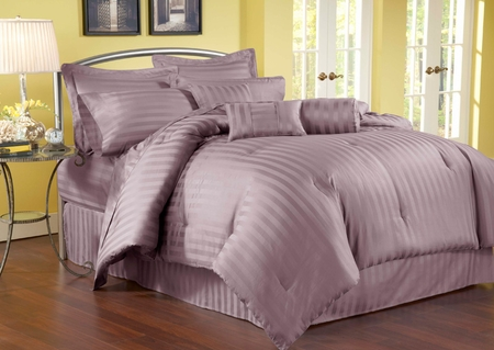 5 Piece Twin Damask Stripe 500 Thread Count Cotton Comforter Set Purple