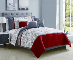 6 Piece Benita Red/Charcoal Reversible Comforter Set