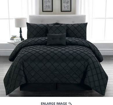 6 Piece Cal King Melia Black Comforter Set