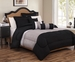 6 Piece Cal King Tranquil Black and Gray Comforter Set