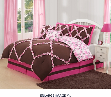 6 Piece Full Farrah Pink and Coffee Comforter Set