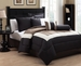 6 Piece Full Tranquil Black and Taupe Comforter Set