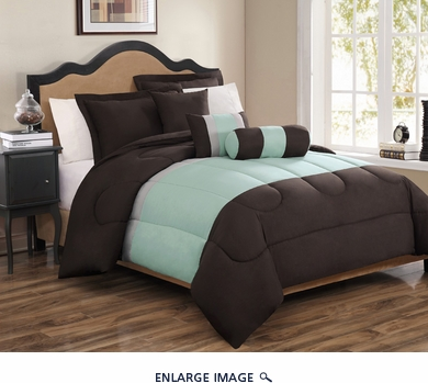 6 Piece Full Tranquil Sage and Chocolate Comforter Set