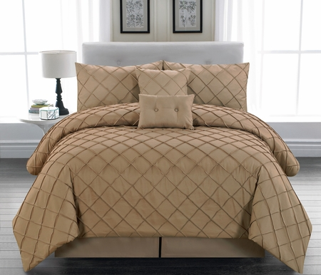 6 Piece King Melia Taupe Comforter Set