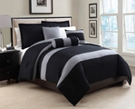 6 Piece King Tranquil Black and Gray Comforter Set