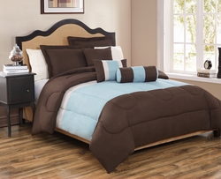 6 Piece King Tranquil Coffee and Blue Comforter Set