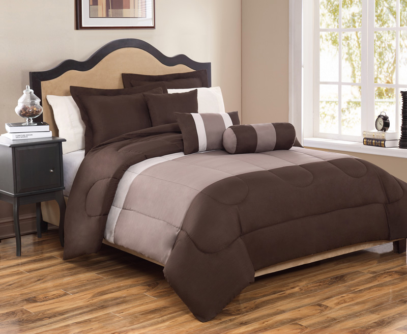 6 Piece King Tranquil Coffee and Taupe Comforter Set
