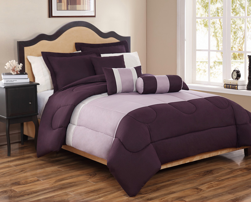 6 Piece King Tranquil Plum and Lavender Comforter Set