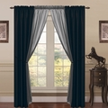 6 Piece Lana Faux Silk Window Curtain Panels Black/Gray