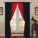 6 Piece Lana Faux Silk Window Curtain Panels Black/Red