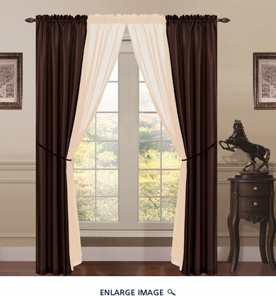 6 Piece Lana Faux Silk Window Curtain Panels Chocolate/Taupe