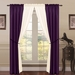 6 Piece Lana Faux Silk Window Curtain Panels Dark Purple/Ivory