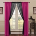 6 Piece Lana Faux Silk Window Curtain Panels Hot Pink/Black