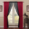 6 Piece Lana Faux Silk Window Curtain Panels Red/Black