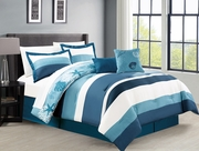 6 Piece Moala Blue/White Reversible Comforter Set