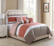 6 Piece Narin Coral/Taupe Reversible Comforter Set