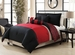 6 Piece Queen Ambiance Black and Red Rerversible Comforter Set