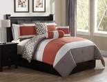 6 Piece Queen Brenny Coral/Taupe Reversible Comforter Set