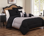 6 Piece Queen Tranquil Black and Gray Comforter Set