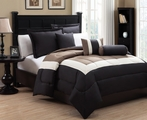 6 Piece Queen Tranquil Black and Taupe Comforter Set