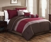 6 Piece Queen Tranquil Burgundy and Chocolate Comforter Set