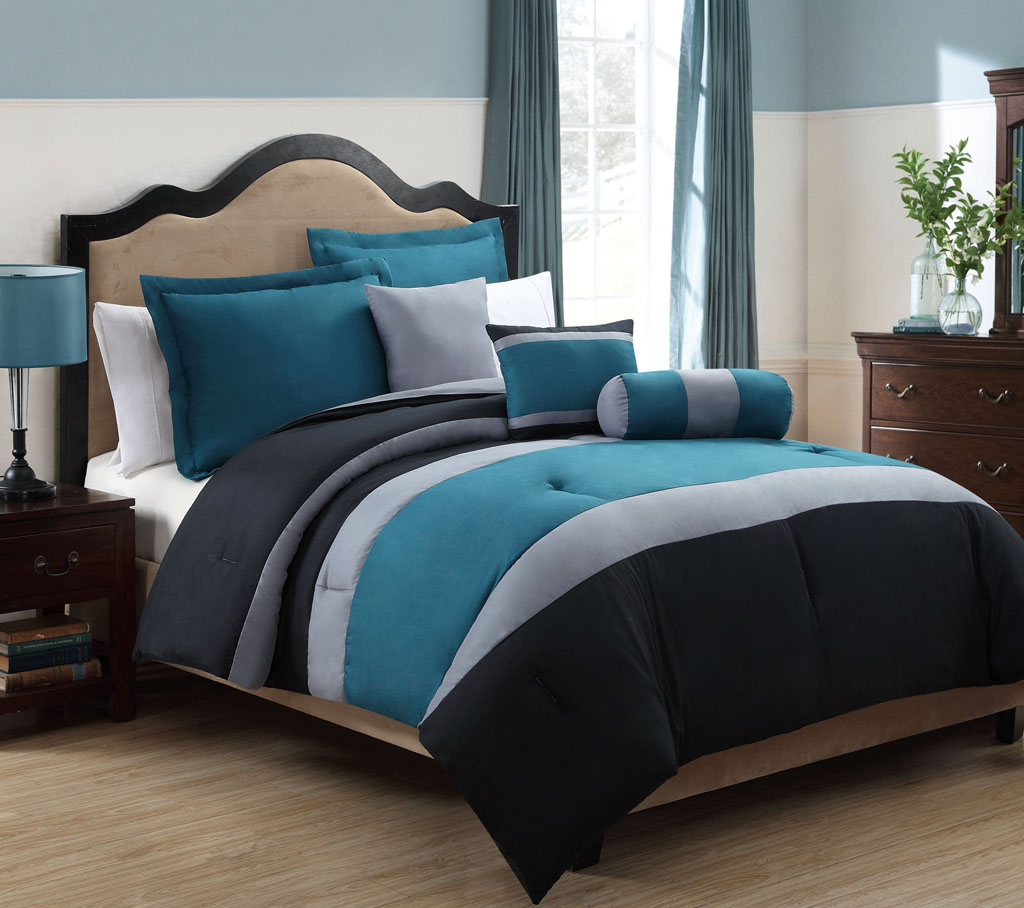 Piece Queen Tranquil Teal and Gray Comforter Set