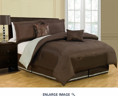 6 Piece Queen Vorona Reversible Comforter Set Chocolate/Sage