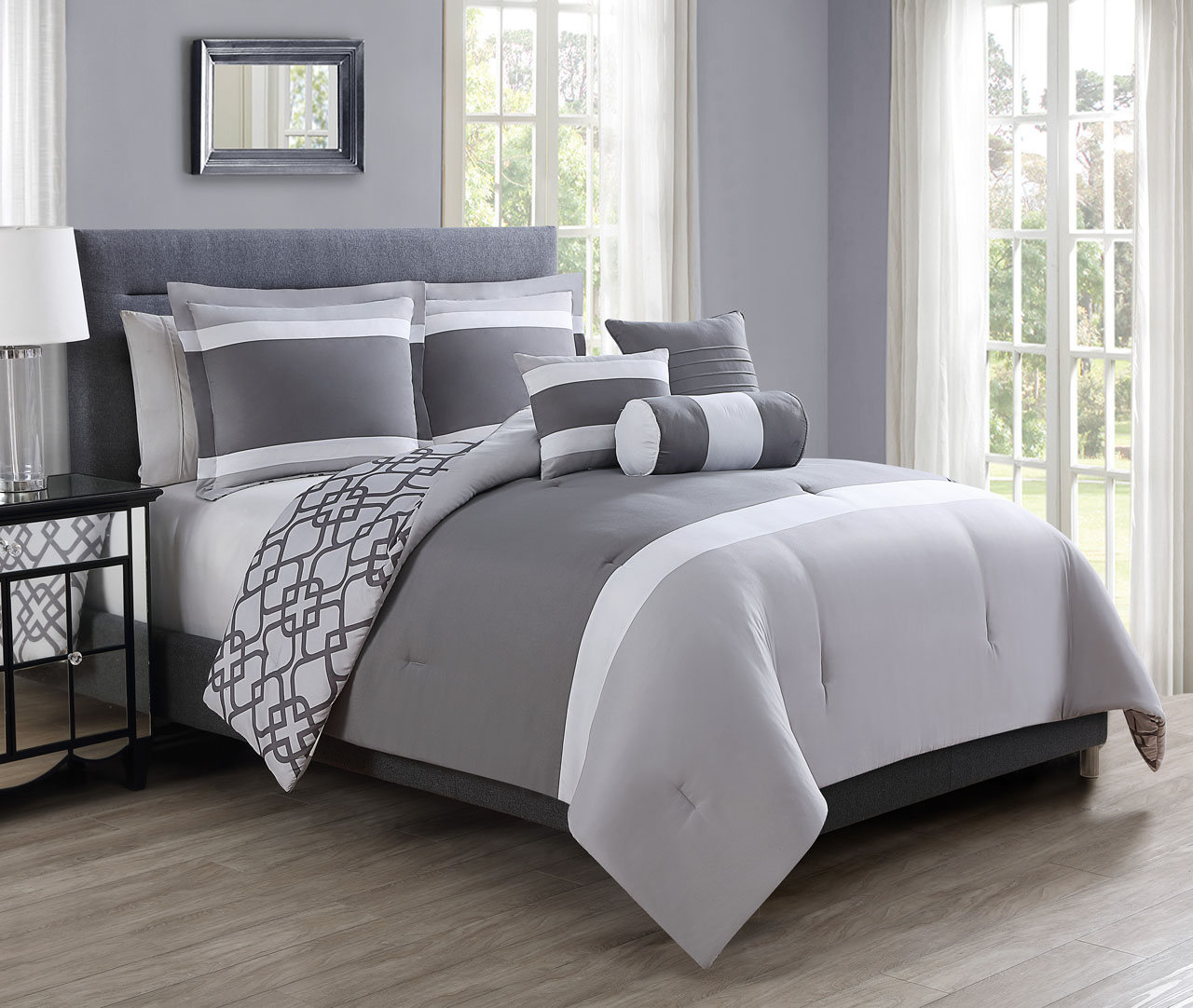 6 Piece Yera Gray/Charcoal Reversible Comforter Set