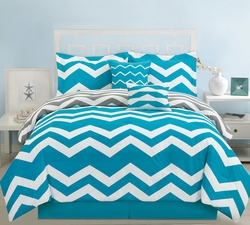 5 Piece Twin Chevron Teal Comforter Set