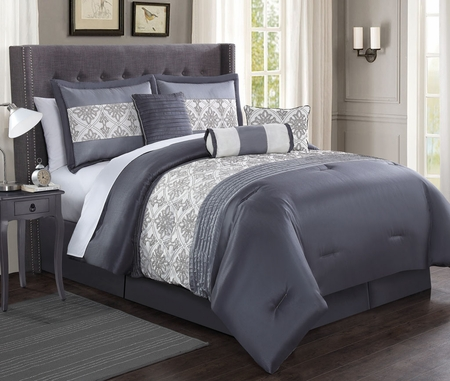 7 Piece Ambrosia Charcoal/Gray/Ivory Comforter Set