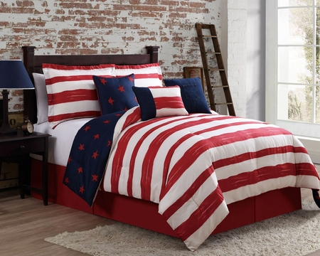 7 Piece Americana Navy/Red/Ivory Comforter Set