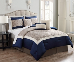 7 Piece Antoniette Navy and Taupe Comforter Set