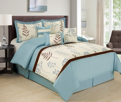 7 Piece Arri Blue/Coffee Comforter Set