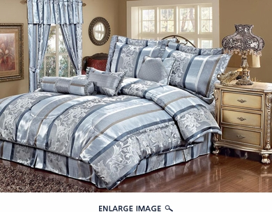 7 Piece Cal King Amethyst Jacquard Comforter Set Blue