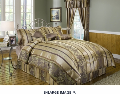 7 Piece Cal King Amethyst Jacquard Comforter Set Brown